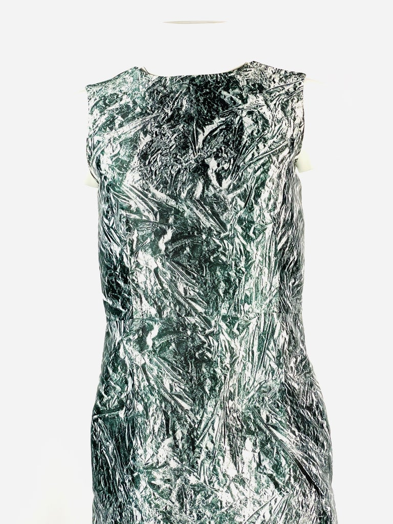 """Alexander McQueen Black and White, Grey Sleeveless Open Back Midi Dress  Product details: Black and white, grey abstract print Sleeveless Featuring V open back 15"""" long  Rear zip and hook closure  Made in Ukraine"""