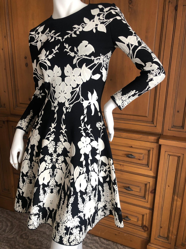 Alexander McQueen Black and White Inartsia Floral Knit Dress with Skater Skirt In Excellent Condition In San Francisco, CA