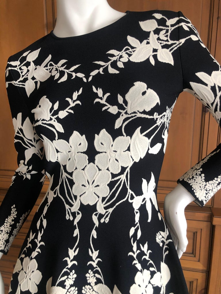 Women's Alexander McQueen Black and White Inartsia Floral Knit Dress with Skater Skirt