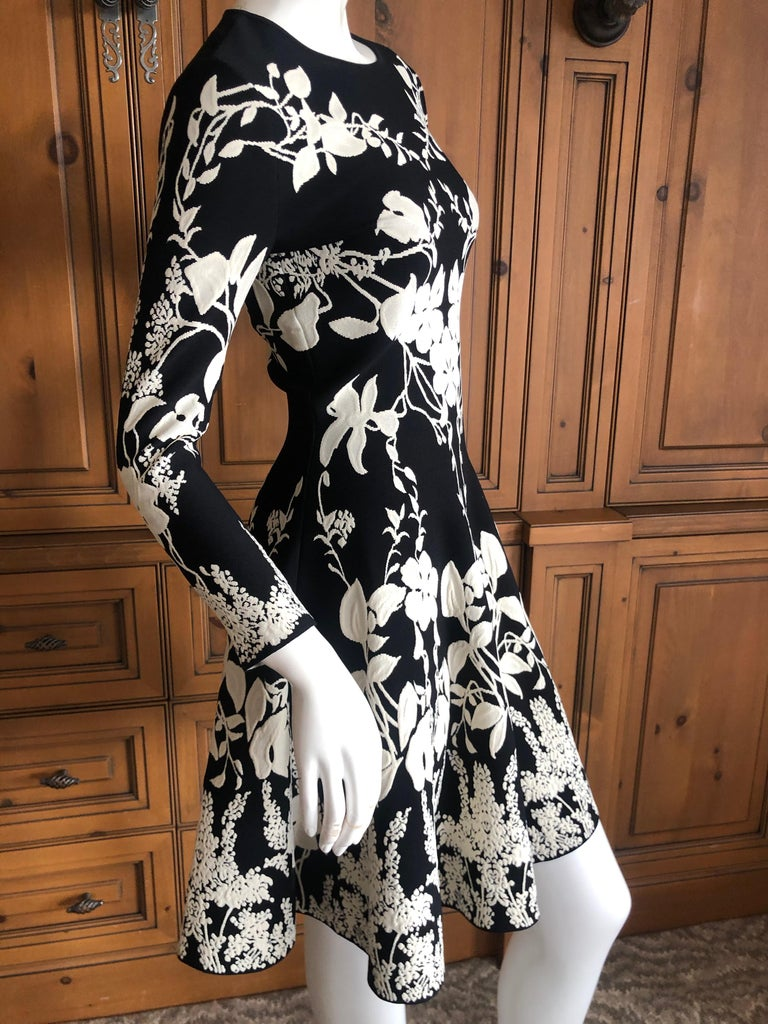 Alexander McQueen Black and White Inartsia Floral Knit Dress with Skater Skirt 2