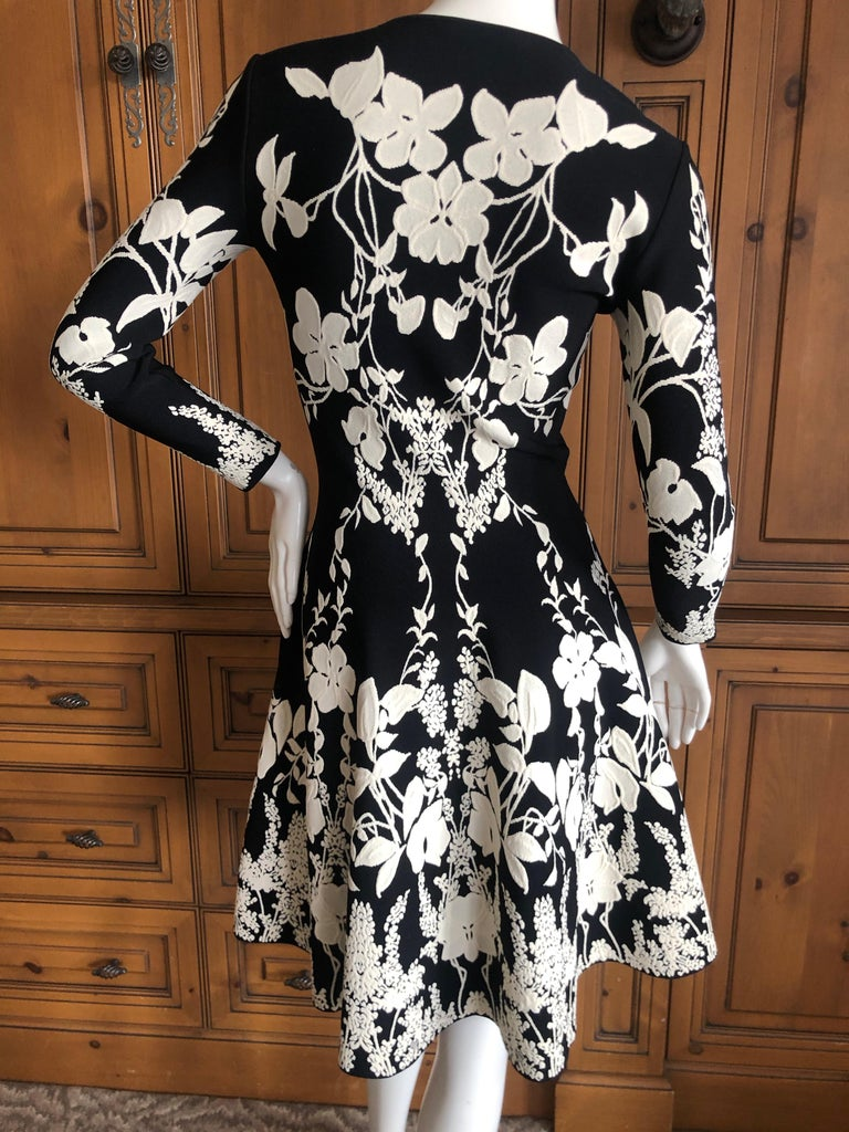 Alexander McQueen Black and White Inartsia Floral Knit Dress with Skater Skirt 3