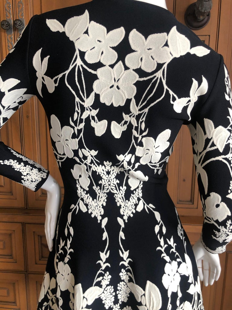 Alexander McQueen Black and White Inartsia Floral Knit Dress with Skater Skirt 4
