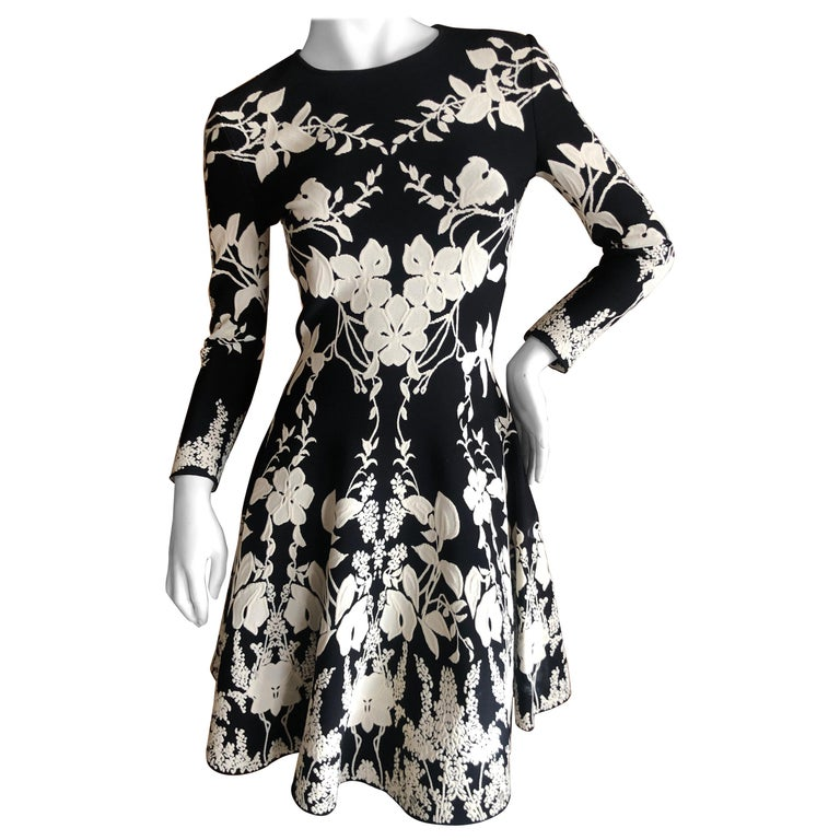 Alexander McQueen Black and White Inartsia Floral Knit Dress with Skater Skirt