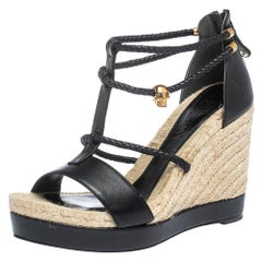 Alexander McQueen Black Braided Leather T Strap Espadrille Wedge Sandals Size 38