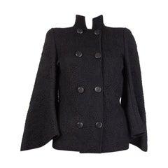 ALEXANDER MCQUEEN black BROCADE DOUBLE BREASTED Jacket XS