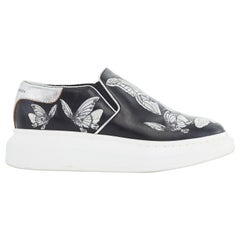 ALEXANDER MCQUEEN black butterfly embroidery leather chunky sole sneakers EU36.5