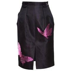 Alexander McQueen Black Butterfly Motif Detail Silk Pencil Skirt M