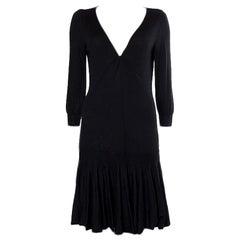 ALEXANDER MCQUEEN black cashmere FLARED KNIT Dress M