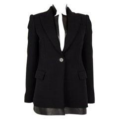 ALEXANDER MCQUEEN black cashmere LEATHER LAYERED Blazer Jacket 38