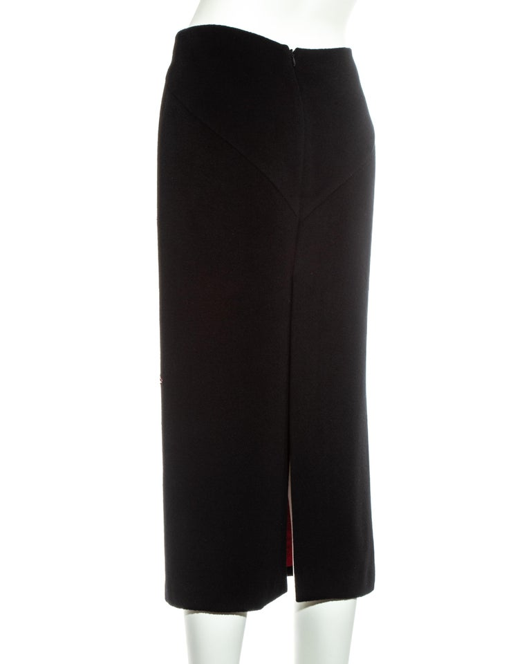 Alexander McQueen black cashmere pencil skirt with red floral beading, fw 1998 For Sale 2