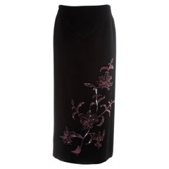 Alexander McQueen black cashmere pencil skirt with red floral beading, fw 1998