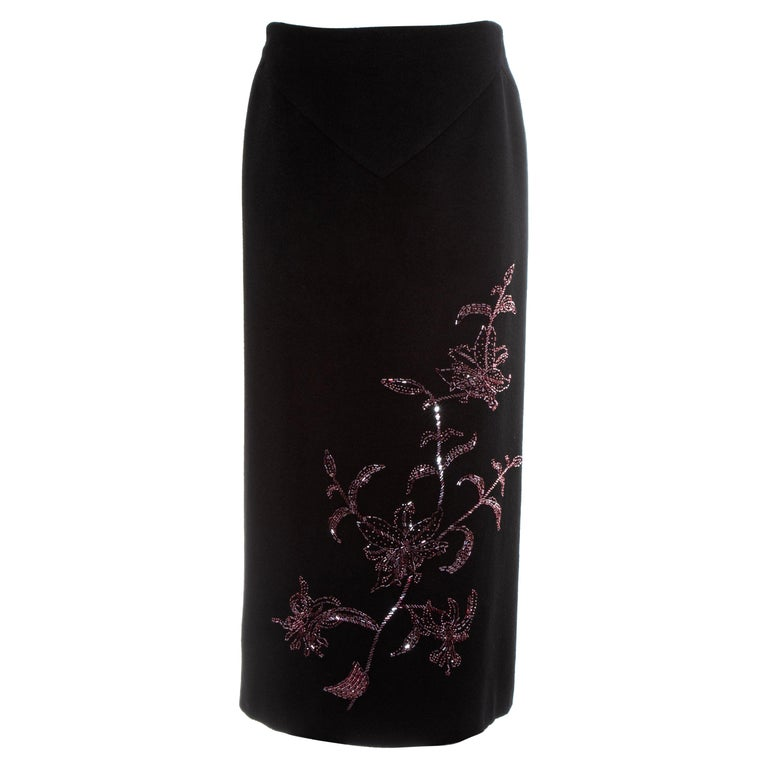 Alexander McQueen black cashmere pencil skirt with red floral beading, fw 1998 For Sale