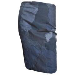 Alexander McQueen Black Clouds Applique Skirt