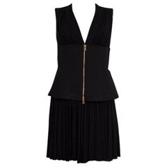 ALEXANDER MCQUEEN black CORSET WAIST PLEATED Dress 40