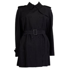 Alexander McQueen black cotton Double Breasted Trench Coat Jacket 42