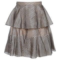 Alexander McQueen Black & Cream Silk Lace Overlay Tiered Skirt M