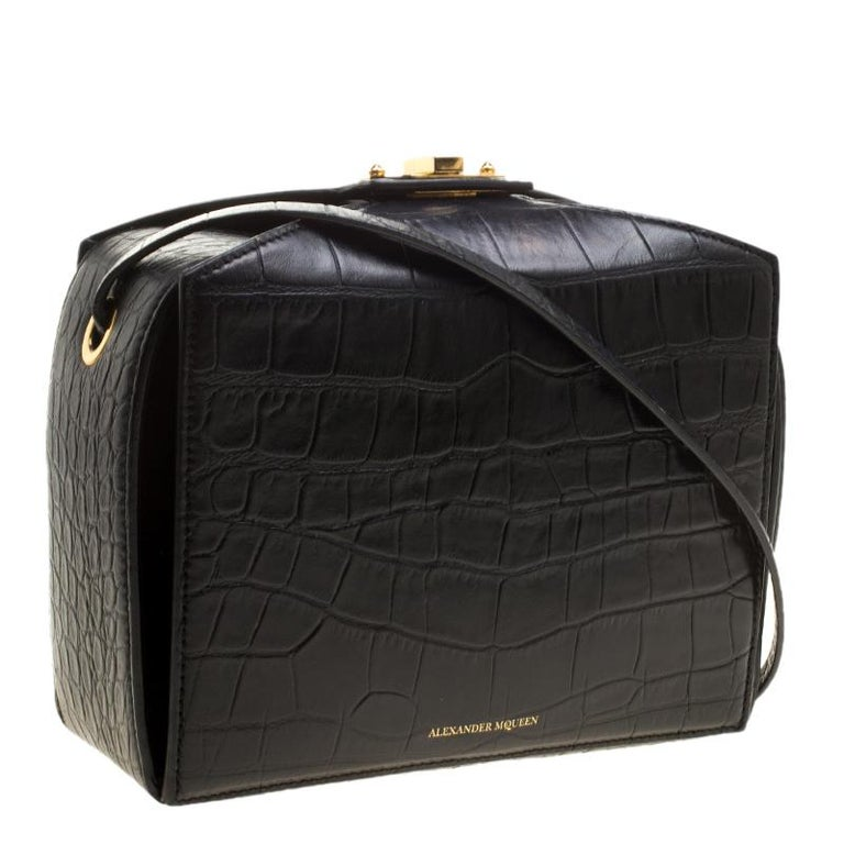 Women's Alexander McQueen Black Croc Embossed Leather Box Shoulder Bag For Sale