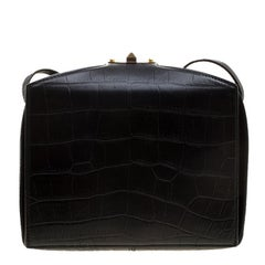Alexander McQueen Black Croc Embossed Leather Box Shoulder Bag