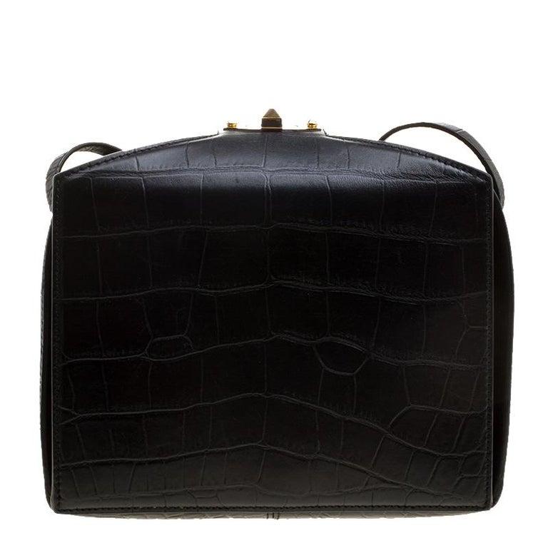 Alexander McQueen Black Croc Embossed Leather Box Shoulder Bag For Sale