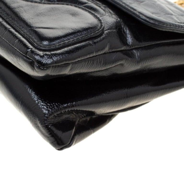 Alexander McQueen Black Croc Embossed Leather Flap Chain Shoulder Bag For Sale 6