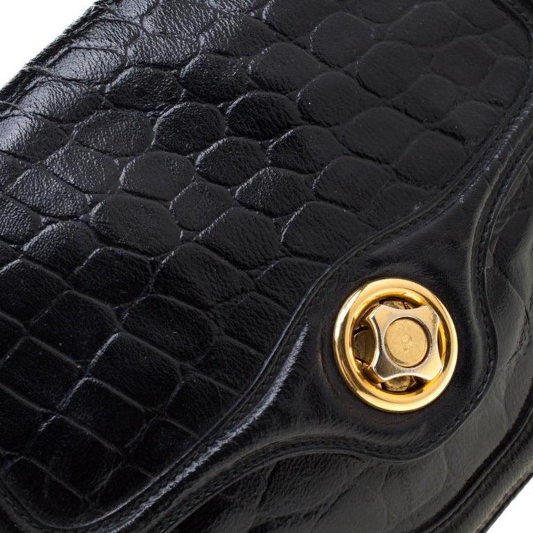 Alexander McQueen Black Croc Embossed Leather Flap Chain Shoulder Bag For Sale 5