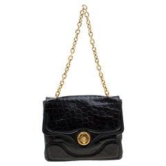 Alexander McQueen Black Croc Embossed Leather Flap Chain Shoulder Bag