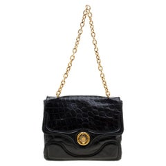Alexander McQueen Black Croc Embossed Leather Flap Chain Shoulder Bag