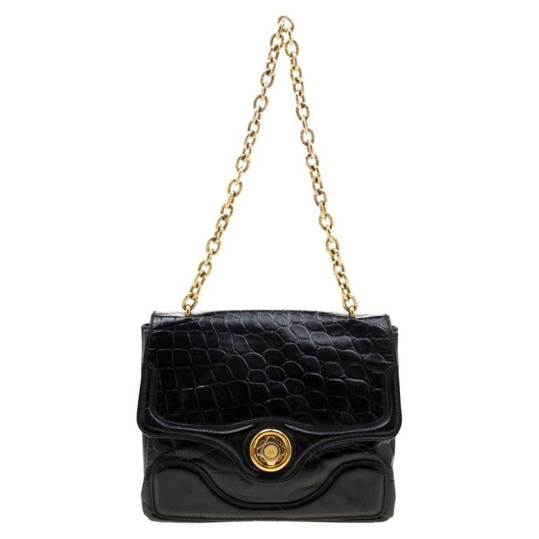 Alexander McQueen Black Croc Embossed Leather Flap Chain Shoulder Bag For Sale
