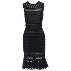 ALEXANDER MCQUEEN black crochet knit eyelet flared hem midi cocktail dress M