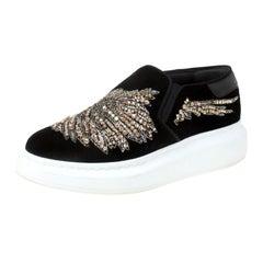 Alexander McQueen Black Crystal Embellished Velvet Slip On Platform Sneakers Siz