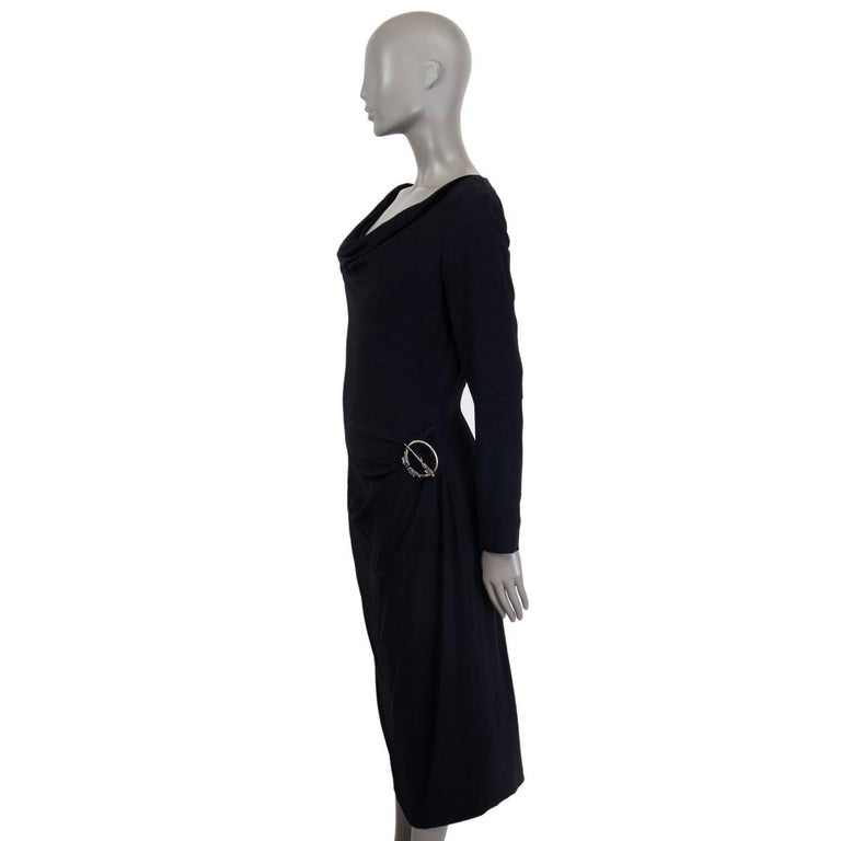 Black ALEXANDER MCQUEEN black DRAPED Long Sleeve Cowl Neck Dress 44 L For Sale