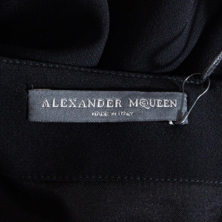ALEXANDER MCQUEEN black DRAPED Long Sleeve Cowl Neck Dress 44 L For Sale 1