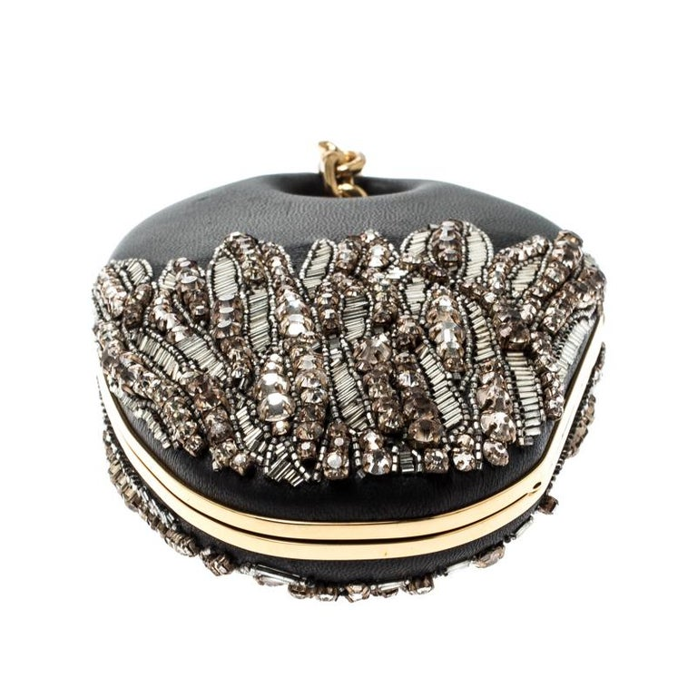 Women's Alexander McQueen Black Embellished Clam Chain Clutch For Sale