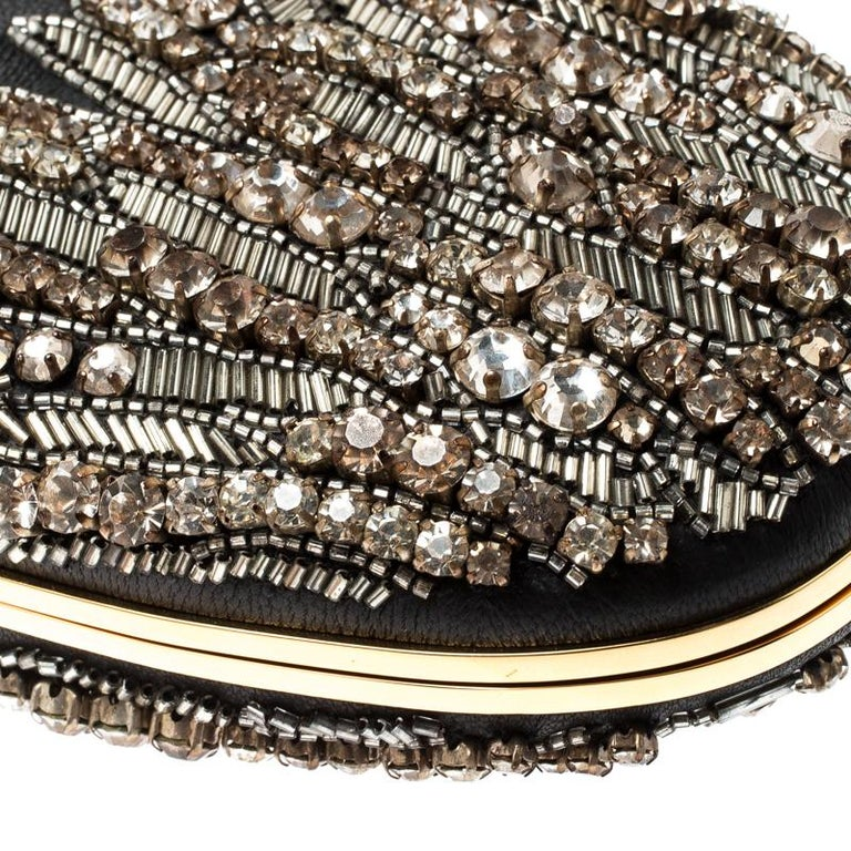Alexander McQueen Black Embellished Clam Chain Clutch For Sale 5