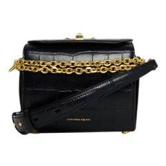 Alexander McQueen Black Embossed Calfskin Shoulder Box Bag