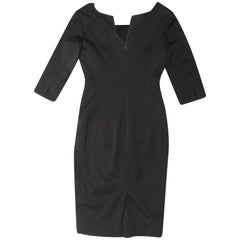 Alexander McQueen Black Fitted V-Neck Dress