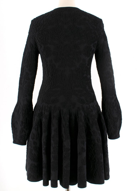 Alexander McQueen Black Flocked Velvet Dress SIZE S In Excellent Condition For Sale In London, GB
