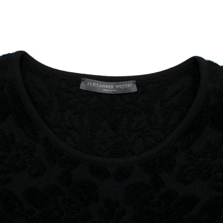 Women's Alexander McQueen Black Flocked Velvet Dress SIZE S For Sale