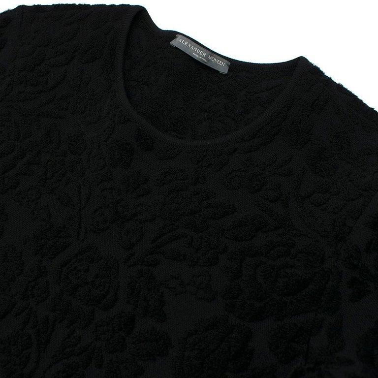 Alexander McQueen Black Flocked Velvet Dress SIZE S For Sale 2