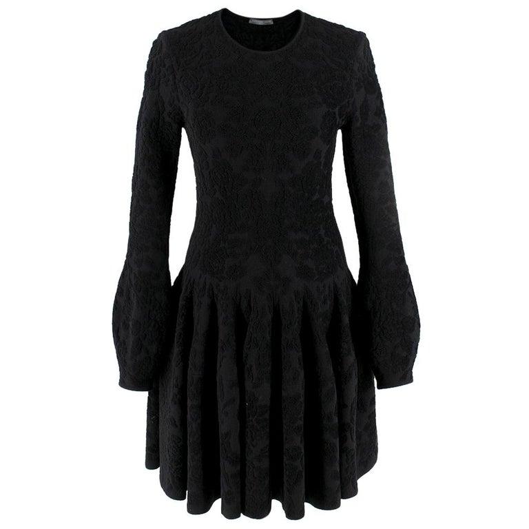 Alexander McQueen Black Flocked Velvet Dress SIZE S For Sale