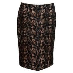 Alexander McQueen Black Floral Lace Pencil Skirt - Size US 6