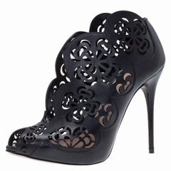 Alexander McQueen Black Floral Laser Cut Leather Ankle Boots Size 36
