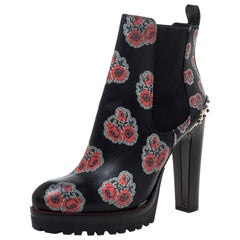 Alexander McQueen Black Floral Print Chelsea Studded Heels Ankle Boots Size 39