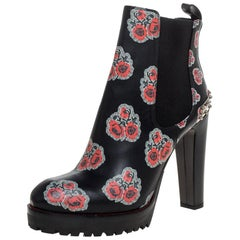 Alexander McQueen Black Floral Print Leather Chelsea Studded Heels Ankle Size 40
