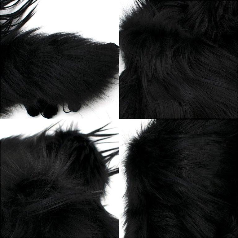 Alexander McQueen Black Fur Cape Scarf For Sale 6