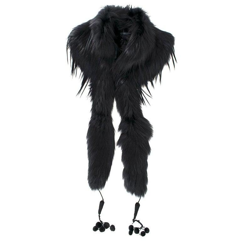 Women's Alexander McQueen Black Fur Cape Scarf For Sale