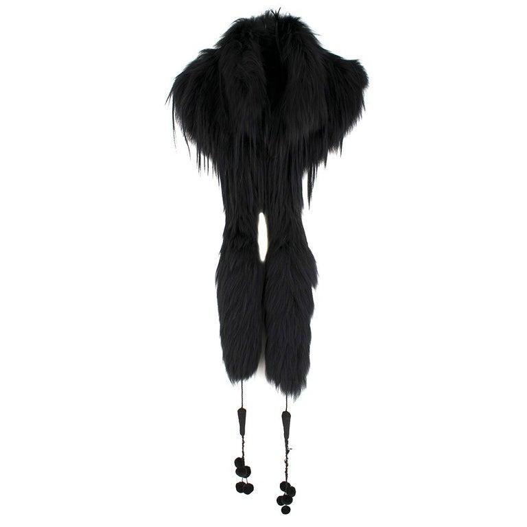 Alexander McQueen Black Fur Cape Scarf For Sale 1