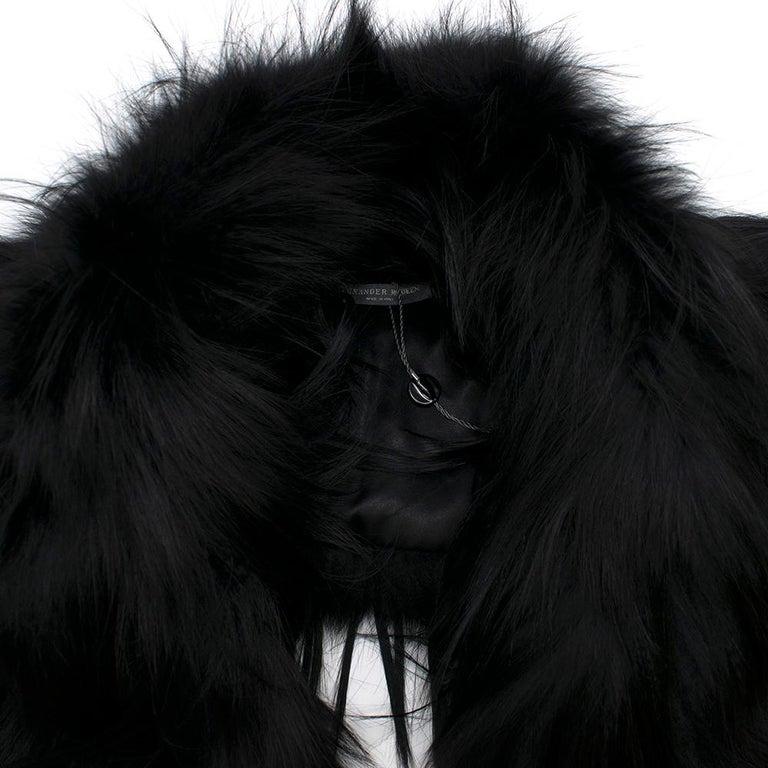 Alexander McQueen Black Fur Cape Scarf For Sale 2