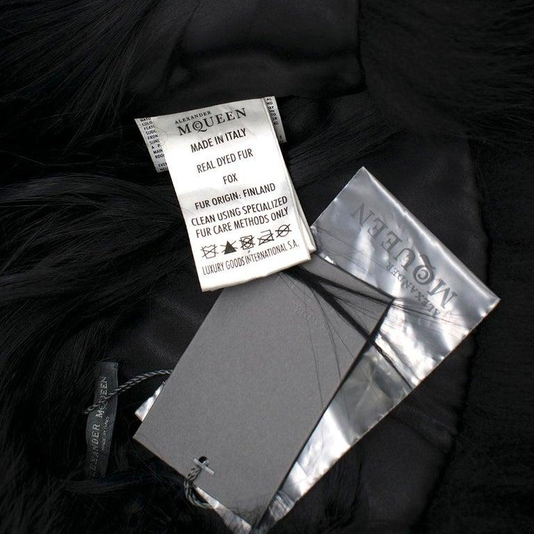 Alexander McQueen Black Fur Cape Scarf For Sale 3