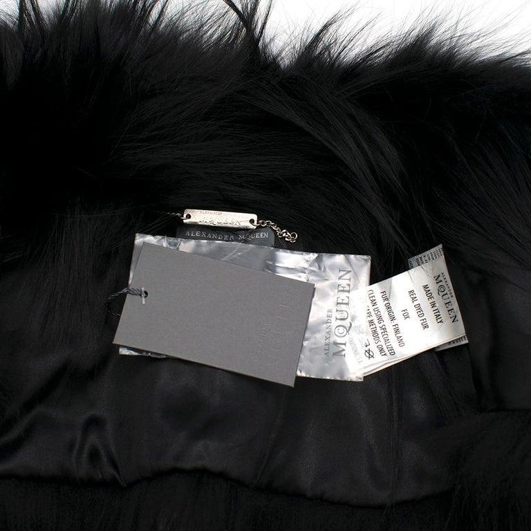 Alexander McQueen Black Fur Cape Scarf For Sale 4